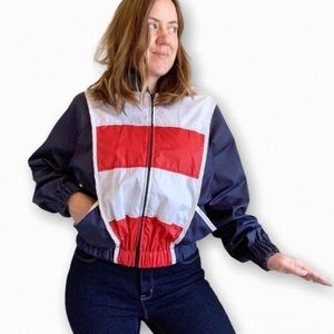 Vintage 80's Red White And Blue Windbreaker Sz M